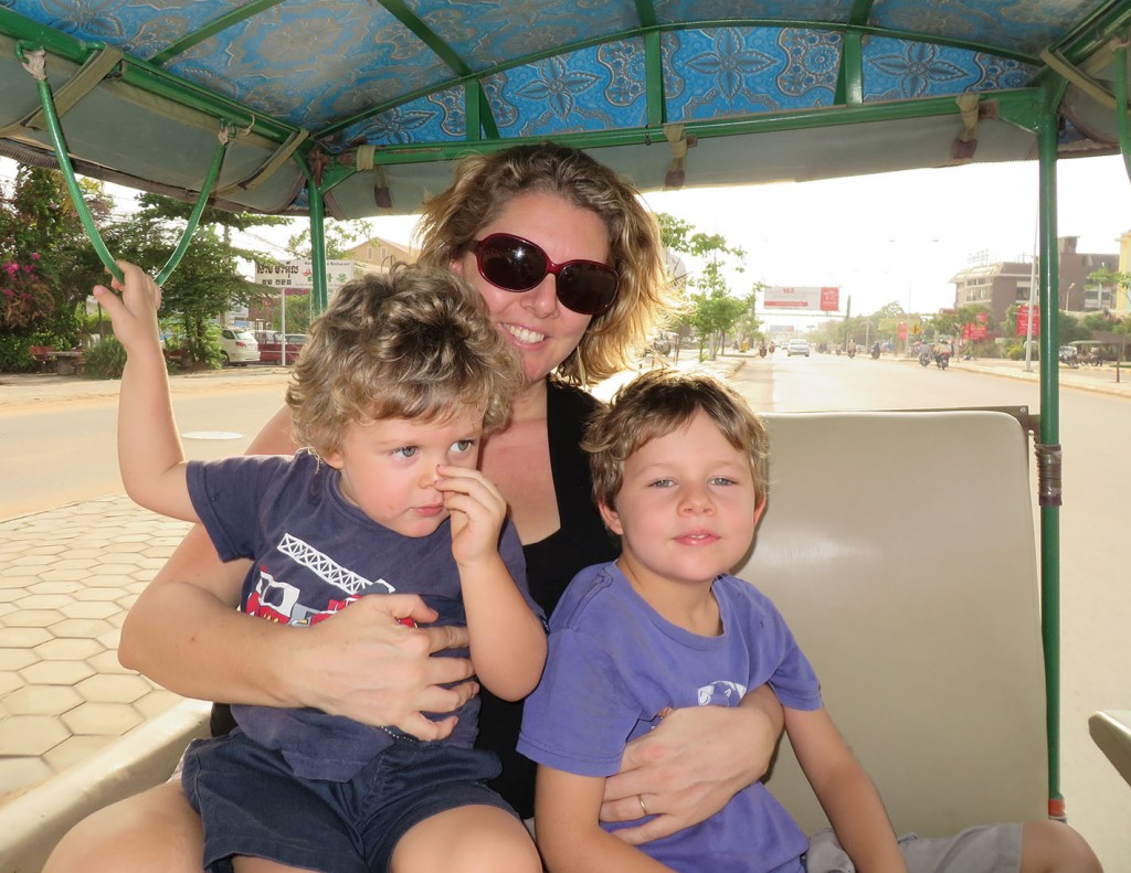 jen, Tom and Milo in the Tuk Tuk
